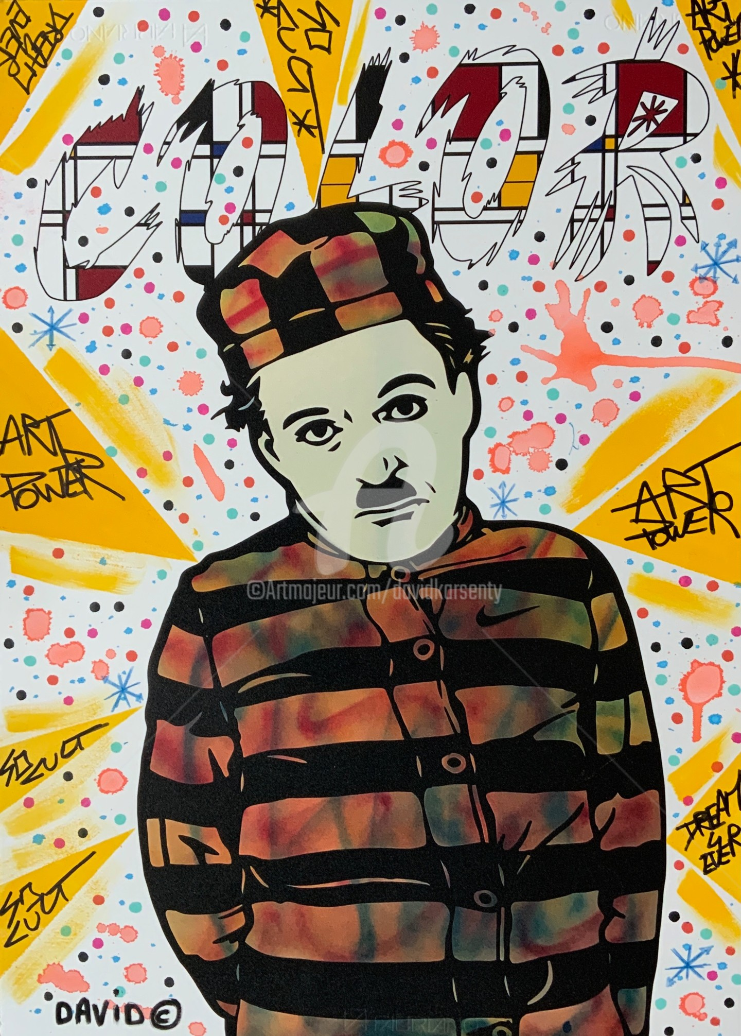 David Karsenty - Charlie Chaplin color Mondrian