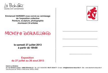 "Carton invitation exposition collective ""Mickey at deauvilland """