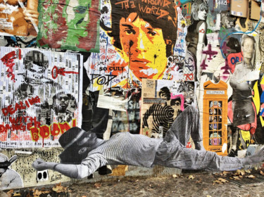 Collage Mick Jagger sur le mur de Berlin